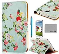 COCO FUN® Flower Green Pattern PU Leather Case with Screen Protector, Stylus and Stand for Samsung Galaxy S4 I9500