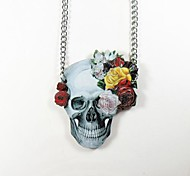 Skull Pattern Wood Necklace