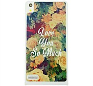 Flowers love you so much  Leather Vein Pattern Hard Case for Huawei Ascend P6
