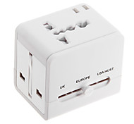 All in One Universal Travel Power Adapter Converter for AU/UK/US/EU Plug w/ Dual USB Charger - White