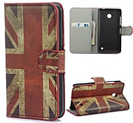 UK Flag Pattern PU Leather Case with Stand and Card Slot for Nokia Lumia 630