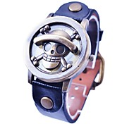 Men`s Retro Flip Type Cute Skull Pattern Bronze Dial PU Strap Quartz Wrist Watch