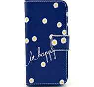 """""""Be Happy"""" Words with Chrysanthemum Flower Pattern PU Leather Full Body Case for iPhone 5/5S"""