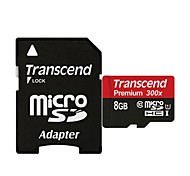 Transcend TF300X UHS-I Micro SDHC / TF Memory Card w/ SD Adapter (8GB / Class 10)