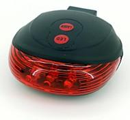concha en forma de 7-Mode LED-5 luz roja de la lámpara bicicleta cola láser (rojo + negro)
