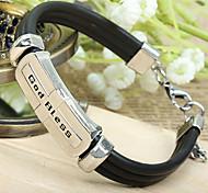 Мода Красивая Euramerican Стиль God Bless Черный кожи сплава Chain & ссылка браслет (1 шт)