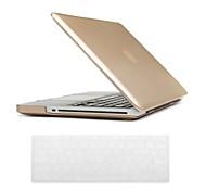 Oro de lujo del color del estuche rígido estilo PC con la cubierta de la piel del teclado para MacBook Pro