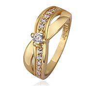 Frau Süß Charming Bowknot Zircon Gold überzogene Ring (Gold / Gold-Pink)