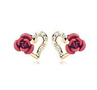 Belle fleur de rose rouge Coeur Boucles d'oreilles Puces 18K Blanc / Rose cristal plaqué or