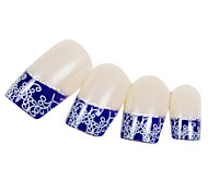 24PCS Blue Fingertip Arabesque Design Natural Nail Art French Tips With Glue