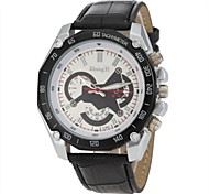 Men's Casual Style Black PU Band Quartz Wrist  Watch Cool Watch Unique Watch