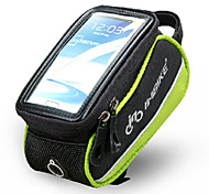 INBIKE 4.8 Inch Polyester and EVA Black and Green Bicycle Front Bag with Transparent PVC Touchable Mobile Phone Screen