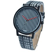 Women`s Stylish Simple Black-White Stripe Leather Band Alloy Dial Quartz Wristwatch (Black-White) Cool Watches Unique Watches