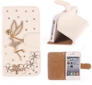Rhinestone Handmade Bling Angel and Flower Design Leather Case for iPhone 5C