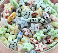 z&X® Beads DIY material de rosto impresso em forma de estrela pérolas sorriso colorido com 100 unidades (cor aleatória, padrão)