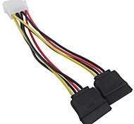 4 PIN IDE/Molex to 2 SATA 15 Pin Power Adapter cable