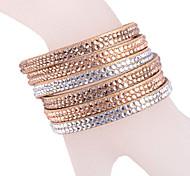 Multilayer Golden Rhinestone Leather Bracelet