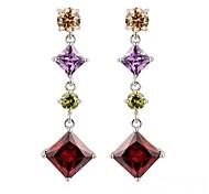 moda simples quadrados multicolor brincos de cristal