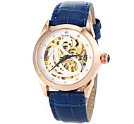 Women's Auto-Mechanical Hollow Swan Pattern Leather Band Wrist Watch (Assorted Colors)