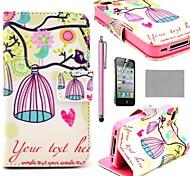 COCO FUN ® K7 belle oiseaux et cage à oiseaux pochette en cuir PU cas avec le stand pour l'iPhone 4S Inclus Film et Stylus