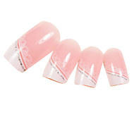 24PCS Silver Edge Lace Design Pink Nail Art Tips With Glue