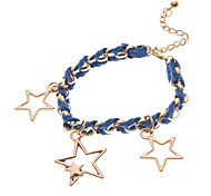 Fashion Multicolor Leather Star Shape Charm Bracelets(1 Pc)