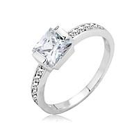 Fashion Jewelry Elegant Shining.75CT Rhodium Plated CZ Lady Ring