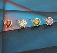 novo ouro das mulheres banhado de venda de moda brincos zircão redondos quentes