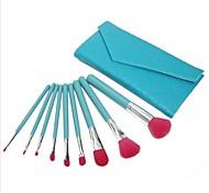 9pcs com um saco de alta qualidade de nylon de maquiagem escova Define Lago Verde