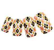 24PCS Golden Edge Colorful Plaid Design Nail Art Tips With Glue
