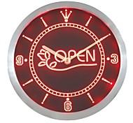 OPEN Flower Florist Shop Neon Sign LED Wall Clock