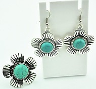 Toonykelly® Vintage Antique Silver Turquoise(Adjustable Ring and Earring) Jewelry Set