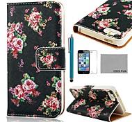 COCO FUN ® Rose Black Pattern PU Leather Case Full Body com Filme, Stand e Stylus para iPhone 5/5S