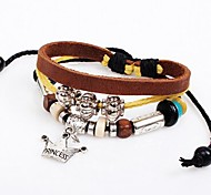 Women's  Occident Vintage Crown  Leather Braided Bracelets