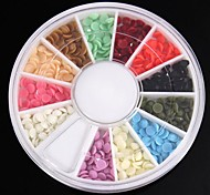 1200PCS 12Colours Half Round Candy Acrylic Rhinestones Wheel Nail Art Decoration