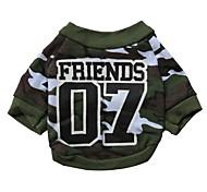 legal não. 07 padrão de 100% t-shirt da camuflagem de algodão para cães (verde xs-l)