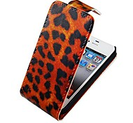 Leopard Print Up-down Turn Over PU Leather Full Body Case for iPhone 4/4S