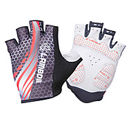 LAMBDA Red Polyester Anti-skid Half Finger Cycling Gloves