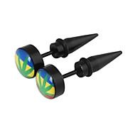 Unisex Oil Drip Colorized Maple Leaf Pattern Allergy Free Titanium Steel Stud Earring