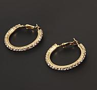 moda 3 centimetri diamantato cerchio forma orecchino del cerchio (1 coppia)
