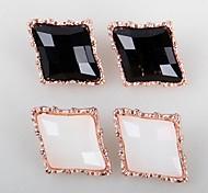 Fashion (Rhomboid) Black or White Resin Stud Earrings(Black or White)(1 Pair)