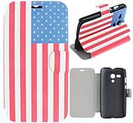 Stars and Stripes Muster Clamshell PU-Leder Ganzkörper-Fall für Motorola Moto G