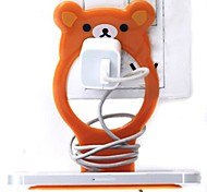 Little Bear Shaped Plastic Cell Phone Charge Holder (Random Color) x 1 PCS