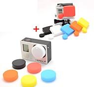 Profesional de silicona protectora de la lente Cap Set para GoPro Hero 3 + / Hero3 Plus