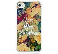 Flowers Leather Vein Pattern PC Hard Case for iPhone 4/4S