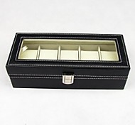 Fashion Black Leatherette Watch Box For 6 Pcs