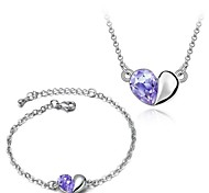 Classic (Peach Heart) Platinum Plated Two Piece Suit Jewelry Set (Purple and Green)