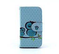 Big and Small Bemused Owl Pattern PU Leather Full Body Case for iPhone 4/4S