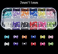 60PCS 12 Colours Candy Resin Bowtie Set Nail Art Decoration