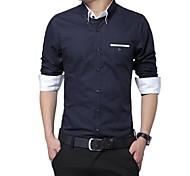 Men's  Stand Collar  Basic  Long Sleeve  Shirt  1306